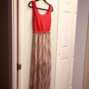 Long coral dress with built in slip